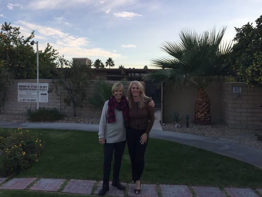 "(L to R) Susan Hunt, a part-time desert resident and KC Kiner touring a home during ""House Hunters Renovation"" which will be on HGTV on Saturday, Aug. 19, 2017."