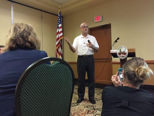 Perdue Farms CEO Randy Day speaks Thursday at a Salisbury