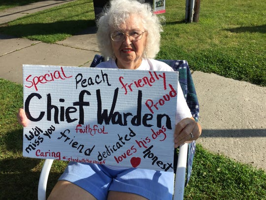 Maedean Birmingham, 90, of Shelburne, showed her support