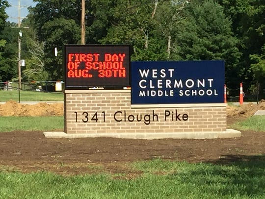 The new sign in front of West Clermont Middle School