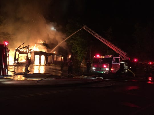 An early morning fire destroyed the Danish Mill, a bakery and restaurant in Washington Island, Wednesday, Aug. 16, 2017.