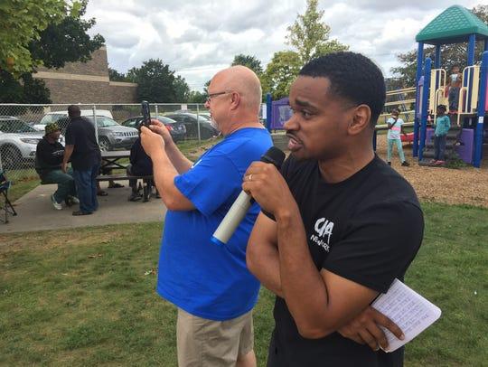 Joe Bixler and the Rev. Tray Smith at the NAACP Field