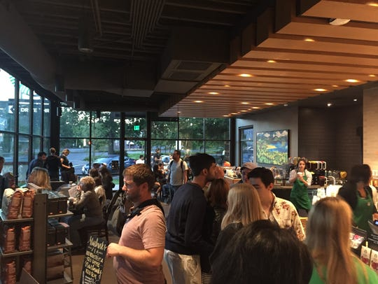 The Starbucks at Church and Ferry streets was packed
