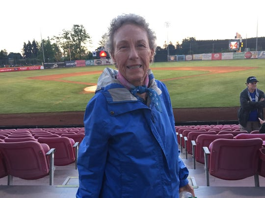 Karin Bond of Aurora, Colorado, is at the Eclipse Game at Volcanoes Stadium. It will be the first baseball game she's attended since the 1960s.