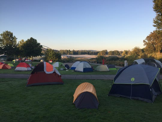 Campers find spaces near the amphitheater at Salem's Riverfront Park in advance of the total solar eclipse Aug. 21, 2017.