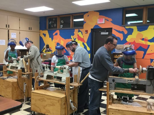 Boys & Girls Club members learned about woodturning