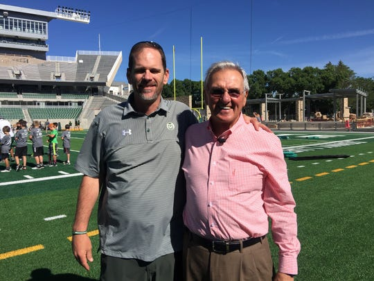 Mike Bobo, left, who is beginning his third season as CSU's football coach, credits former coach Sonny Lubick for making Colorado State football relevant. Lubick said conditions at CSU are ripe for another resurgence under Bobo.