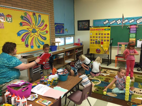 Maron Driscoll's kindergarten class finishes out its