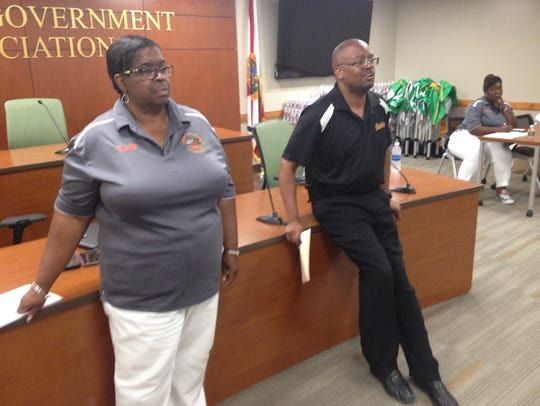 FAMU Housing Director Jennifer Wilder, left and William