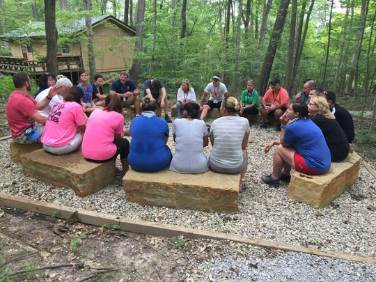Debriefing sessions at Camp Joy help to facilitate team building for the LEAD Clermont Classic class of 2018.