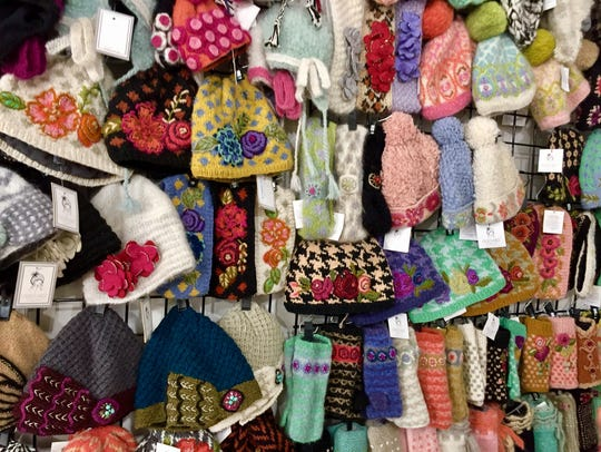 A selection of knitwear accessories designed by French