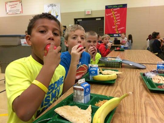 Sunrise School third-grade students Jaylen Reynolds,