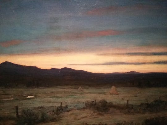 Howard Russell Baker's painting shows how even though it gets darker during a total eclipse, the horizon stays lit as the moon's shadow doesn't reach that far.