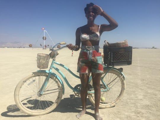 Destini Hopson, 21, of St. Louis, Mo., at Burning Man