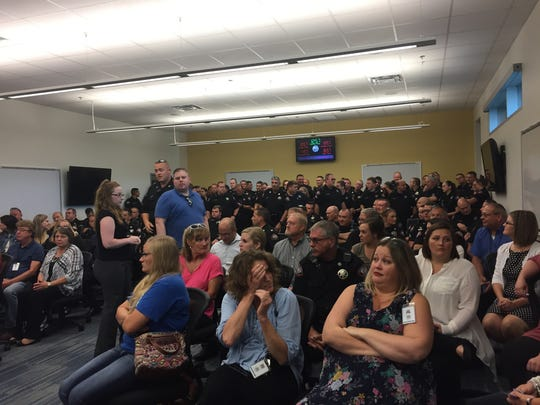 This photo was taken at a Greene County meeting on Aug. 28, 2017, when commissioners voted to put a 1/2-cent sales tax on the November ballot. The room was packed as deputies and other county office holders awaited the commission's decision.