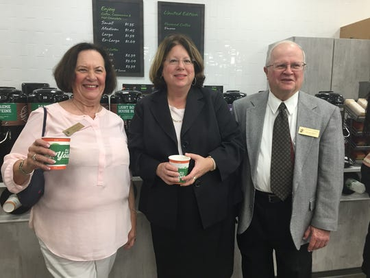 """Among the VIPs at Monday's pre-grand opening, state Sen. Linda Greenstein (D-District14) enjoyed a cup of coffee with Township Council members MiriamCohenand Dr. Leonard Baskin. QuickChek continues to redefine """"fresh convenience"""" as it celebrates its 50th anniversary. Taking its ability to provide fresh products and food-to-go to a new level, the Whitehouse Station-based chain opened its 150th store Tuesday. The new QuickChek on Applegarth Road in Monroe is the first to reflect the new concept."""