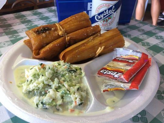 Handmade Louisiana-style hot tamales are a specialty