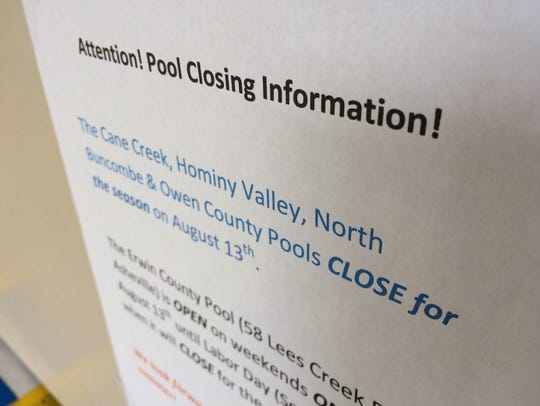 Most Buncombe County pools closed Aug. 13. The Erwin