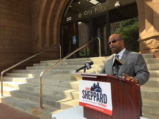 James Sheppard in a press conference outside City Hall.