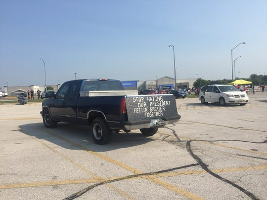 Trump supporters are beginning to gather in the old KMart parking lot near the intersection of East Kearney Street and North Glenstone Avenue.