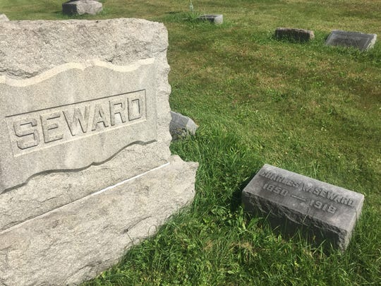 Judge Charles Seward's grave at Cedar Hill. Because of threats on his life, the judge is said to have conducted trials related to the lynching with a loaded pistol close at hand.