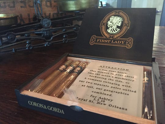 The First Lady cigar is named for Ashley Ellis, the wife of Governor's Cigar & Pipe owner Friday Ellis. He had a poem that he wrote for her included in every box.