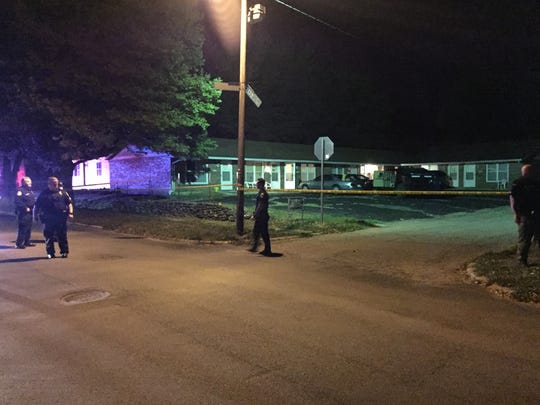 City police at the scene of a Friday night shooting,