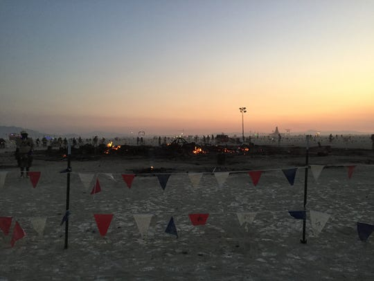 A photo from the site of the Burning Man structure