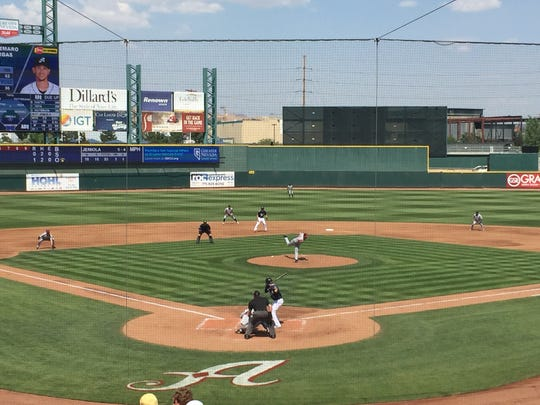 The Reno Aces scored 10 runs in the second inning and won 13-1 Monday over Albuquerque.