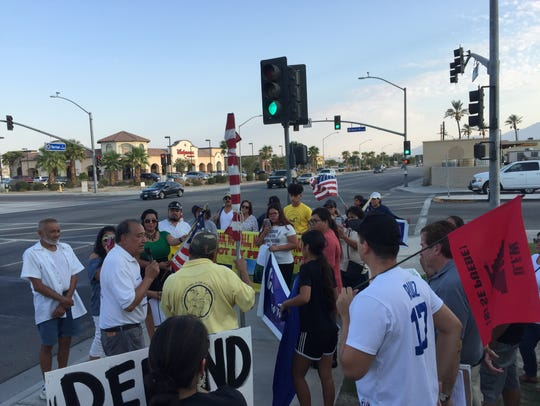 Community members gather in Coachella to protest the
