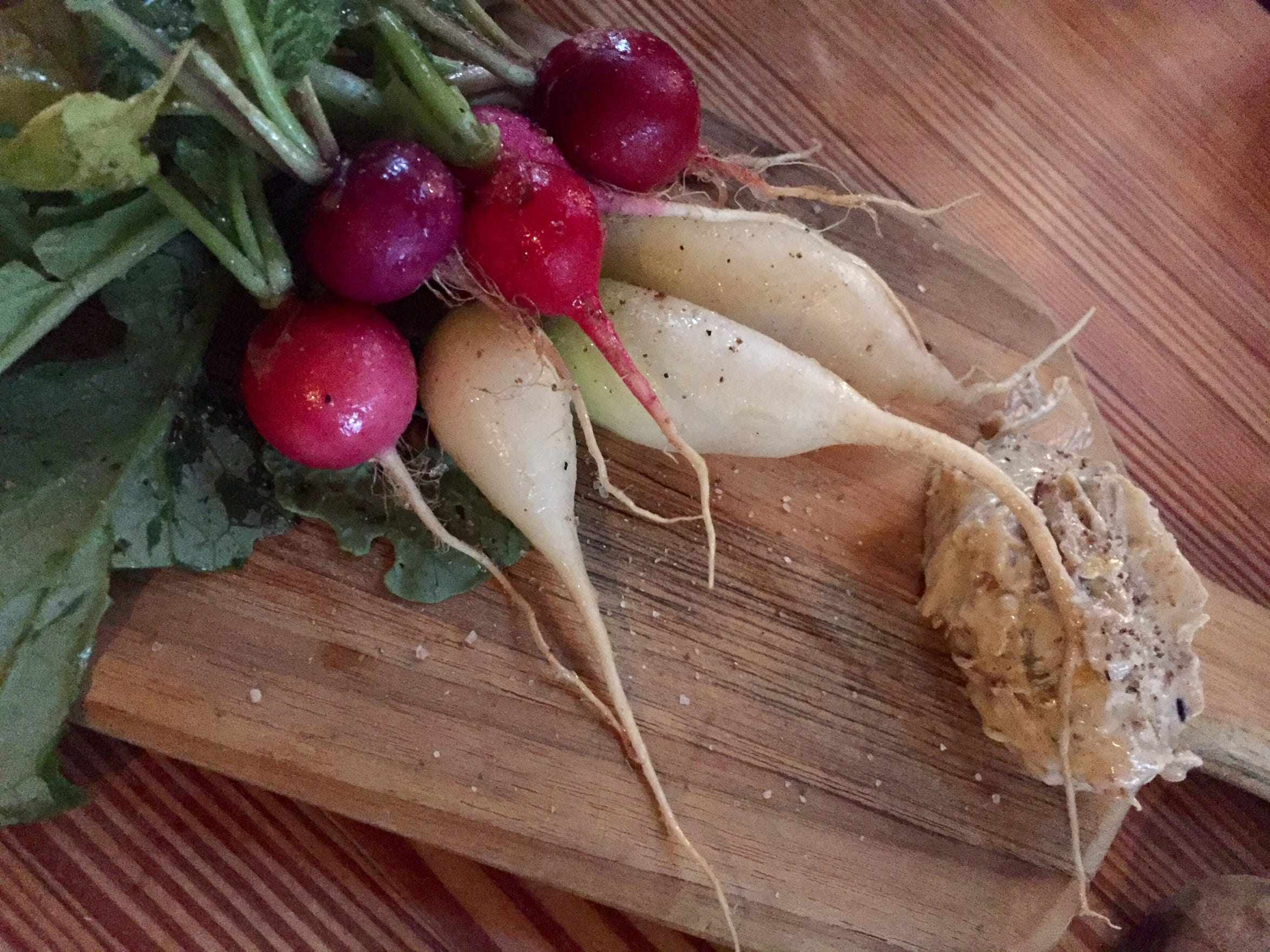 Radishes in late spring from the rooftop garden at