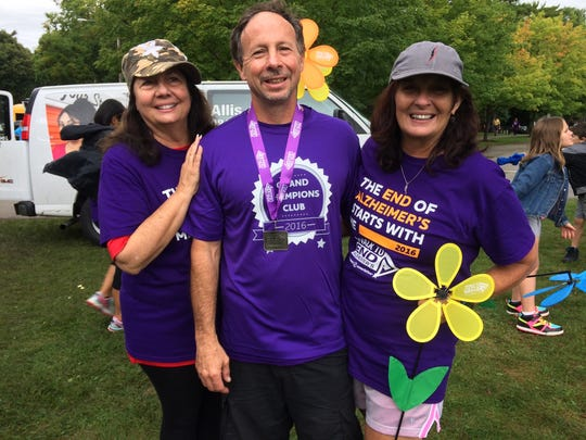 Mike Brown with sisters Kathy Witkowski (left) and Pat Weske (right) at the 2016 Walk to End Alzheimer's in Sheboygan County.