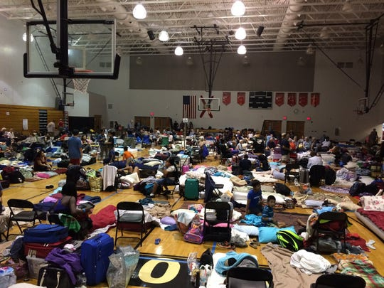 The scene at South Fort Myers High School's shelter