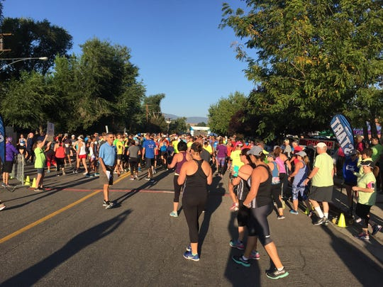 Runners head to the start line of the 49th annual Journal Jog in Reno on Sunday morning.