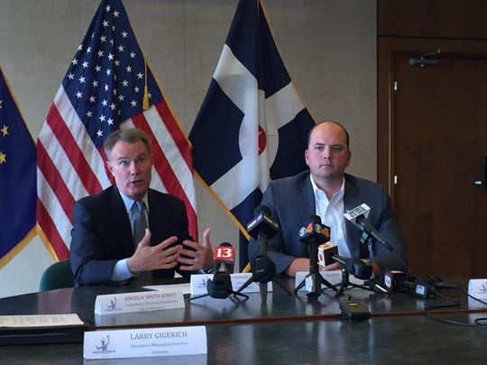 Indianapolis Mayor Joe Hogsett and Fishers Mayor Scott Fadness announce plans to make a collaborative pitch for Amazon's second headquarters.