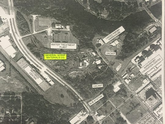 A diagram showing the location of General Scrap in Shreveport, included in a site investigation that found environmental violations.