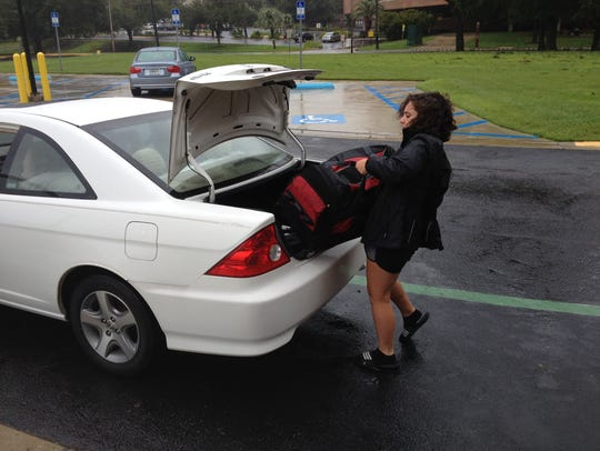 FSU student Katelkyn Clarke prepares to leave the Tucker