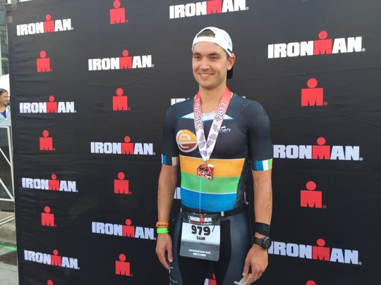 Sam Rauchwarter of Minneapolis competed in his first IRONMAN WI Sunday - and did well in the run. He'd never even run a marathon before; the longest distance he'd ever run was 16 miles.