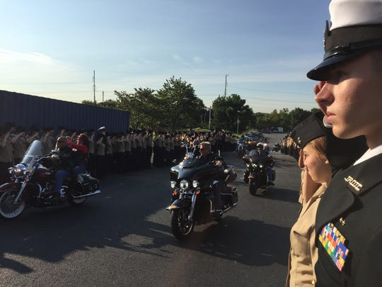 The Delaware Military Academy hosted its 14th 9/11 remembrance ceremony Monday morning. The ceremony concluded as bikers rumbled past cadets, who stood at attention and flanked each side of their route.