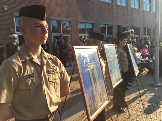 At the 14th 9/11 remembrance ceremony conducted Monday at the Delaware Military Academy, cadets participated with displays of discipline and coordination as politicians and their commandant gave speeches.