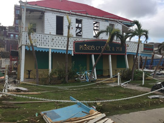 Pusser's, a restaurant and bar, damaged by Hurricane Irma in BVI.
