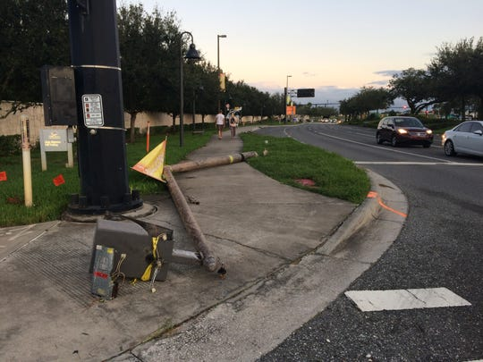 A downed pole at University of Central Florida in Orlando.