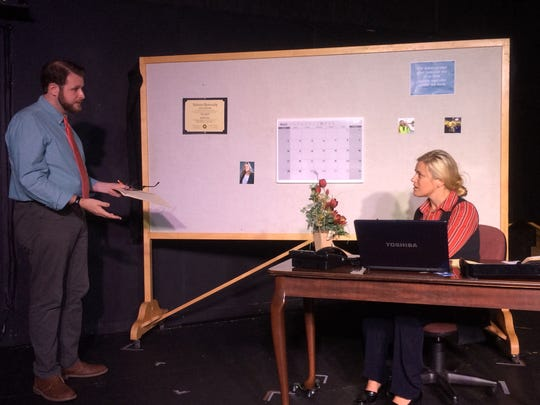 "Colin Nesmith as Howard and Katie Glover as Theresa during a reharsal for ""Boy Gets Girl."""