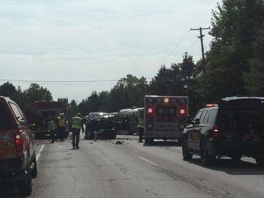 A crash closed Wadhams Road in Kimball Township Tuesday afternoon.