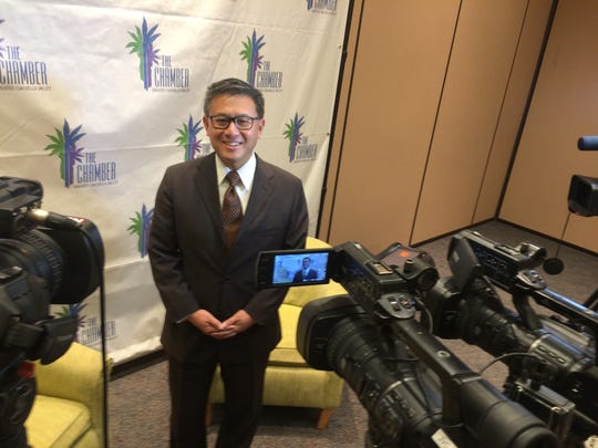 California State Treasurer and Democratic candidate for governor John Chiang speaks to reporters on Sept. 12, 2017, at Fantasy Springs Resort Casino ahead of a Greater Coachella Valley Chamber of Commerce breakfast.