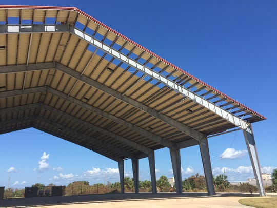 A Patrick Air Force Base structure where aircraft are cleaned was one of hundreds that sustained some damage from Hurricane Irma at Patrick and Cape Canaveral Air Force Station.