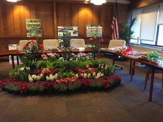 An example of the monthly floral display at the Board