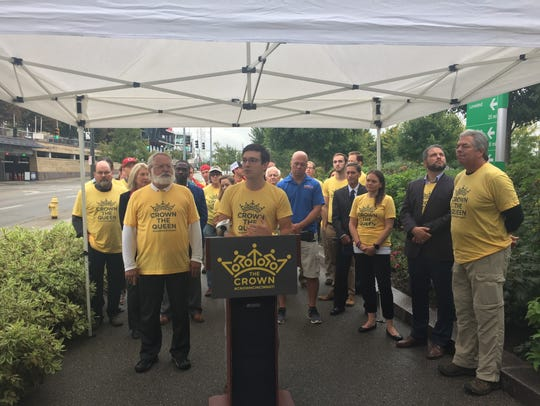 Wade Johnston, Director of Tri-State Trails, unveils