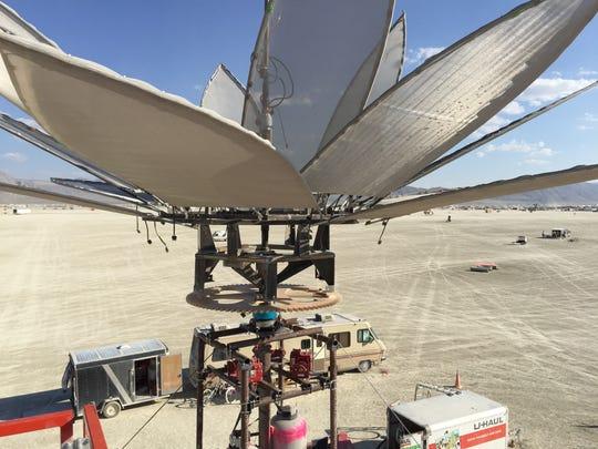 """The top of """"Dragonfly Mating Ritual"""" at Burning Man."""