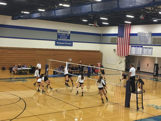 Bishop Manogue swept McQueen, 3-0, Wednesday. Both teams play in the Las Vegas tournament this weekend.